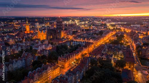 Obraz na dibondzie (fotoboard) Zachód słońca w Gdańsku