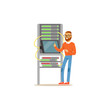 Network engineer administrator working in data center using tablet connected to server rack, server maintenance support vector illustration