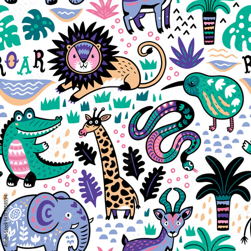 fashion-safari-seamless-pattern-with-jungle-animals-in-vector