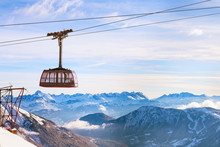 Cable Car And Snow Mountains P...