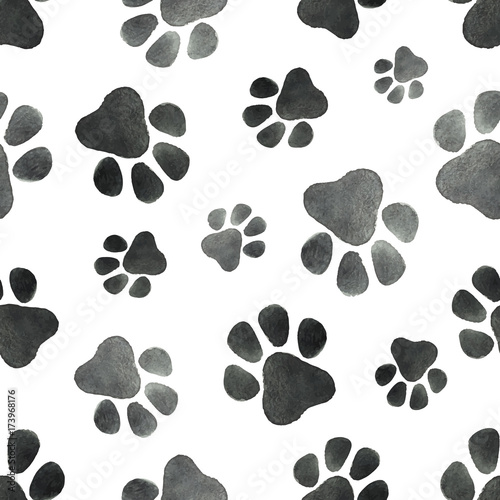 obraz lub plakat Watercolor vector seamless pattern with the imprint of dog paws.