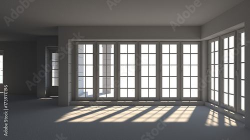 Wall Murals Martial arts Empty white room, interior 3d illustratio and sunlit window doors waiting for decoration