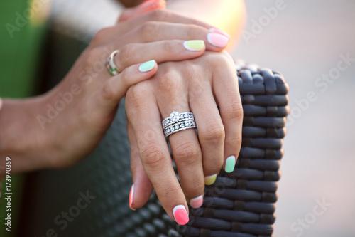 Staande foto Manicure Diamond ring on a finger.