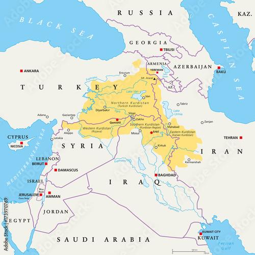 Kurdistan region political map. Kurdish inhabited areas in the ...