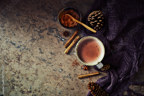 Spoed Foto op Canvas Chocolade Hot Chocolate, cones and spices on stone background