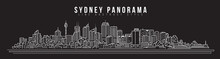 Cityscape Building Line Art Vector Illustration Design - Sydney City Panorama