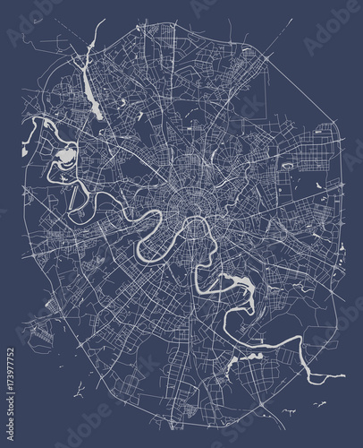 Fotografie, Tablou vector map of the city of Moscow, Russia