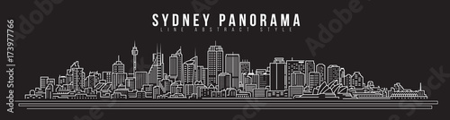 Cityscape Building Line art Vector Illustration design - Sydney city panorama Canvas Print