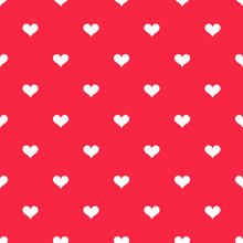 White Hearts On Red Background Pattern