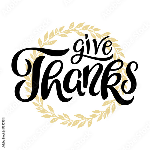 Give Thanks lettering with wreath in background. Card template ...