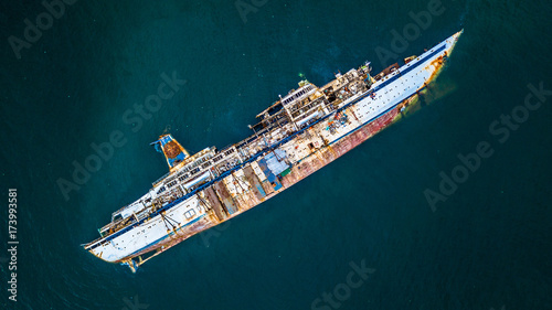 Canvas Prints Ship Aerial view of cruise ship shipwreck, Shipwreck cruise ship, Shipwrecked off the coast of Thailand.