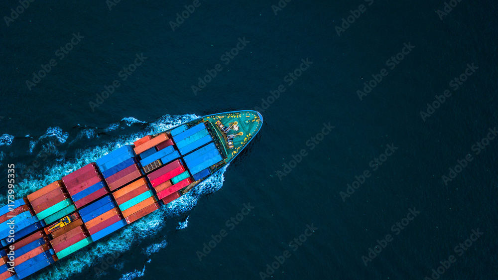 Fototapety, obrazy: Aerial view from drone, container ship or cargo ship in import export and business logistic.