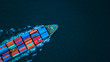 canvas print picture - Aerial view from drone, container ship or cargo ship in import export and business logistic.