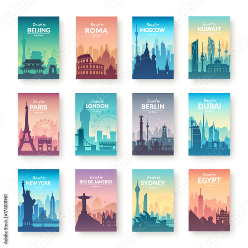 Collection of famous city scapes. Canvas Print