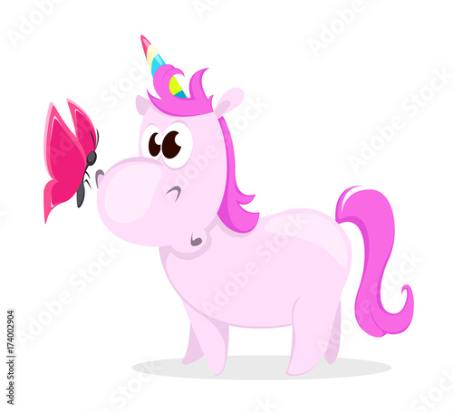 Deurstickers Pony Funny pink unicorn with butterfly. Cute magic fantasy animal with rainbow horn isolated on white background. Vector illustration