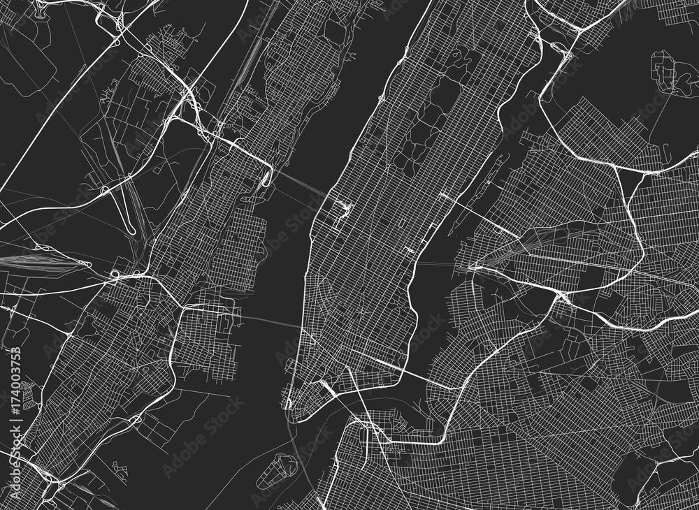 Fototapety, obrazy: Vector black map of New york