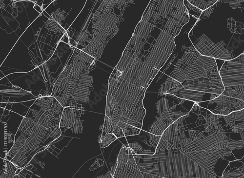 Vector black map of New york Wallpaper Mural