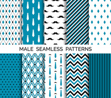 Set Of Vector Seamless Male Blue Patterns