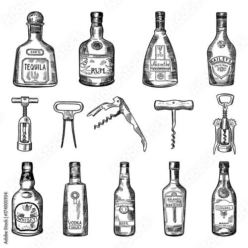 Fotomural Illustrations of corkscrew and different wine bottles