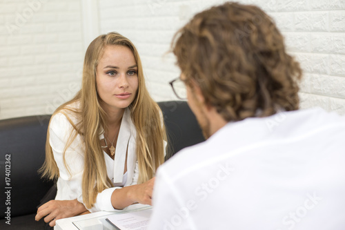 30ff8e08b400 Woman interview man for working. Businesswoman talking with man for  business Project. People working concept.