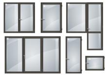 Set Of Black Plastic Windows