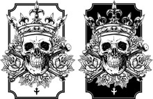 Graphic Skull With Crossed Bones And Crown Set