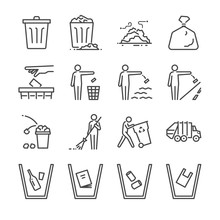 Trash Line Icon Set. Included ...