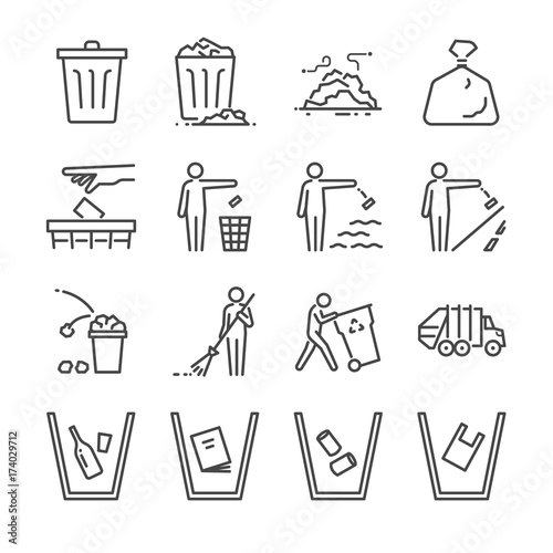 Trash line icon set. Included the icons as garbage, dump, refuse, bin, sweep, litter and more.