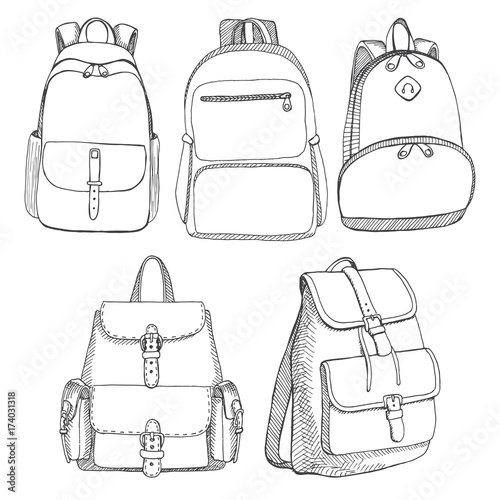 8bb8a49bc6a Vector illustration in sketch style. By arkadiwna. Set of different  backpacks, men, women and unisex. Backpacks isolated on white background