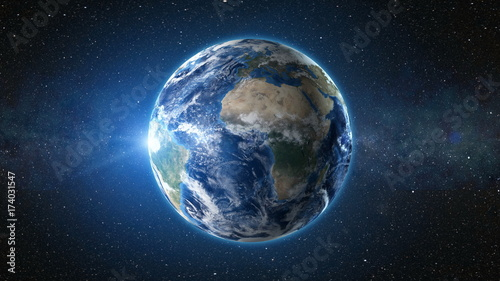 3d render animation sunrise view from space on planet earth high