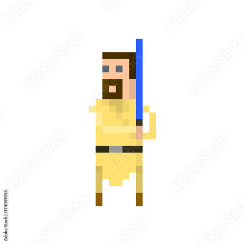Pixel space warrior with a lightsaber Canvas Print