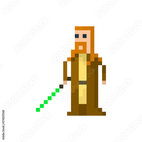 Pixel space warrior with a lightsaber Fototapet