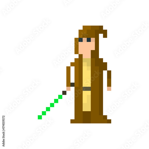 Photo  Pixel space warrior in a hood with a lightsaber