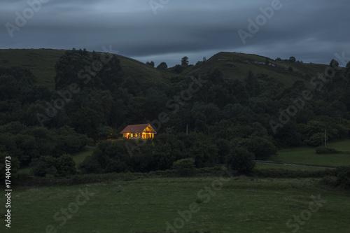 A solitude house at dusk