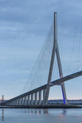 Foto op Canvas Brug Sunrise view at Pont de Normandie, Seine bridge in France