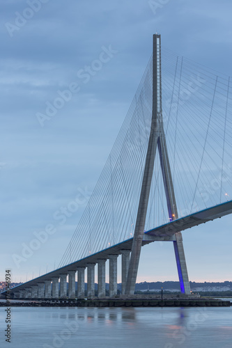 Fotobehang Brug Sunrise view at Pont de Normandie, Seine bridge in France