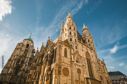 St. Stephan Cathedral against blue sky in Vienna, Austria