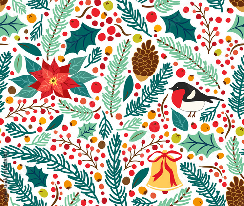 41f253d7f Cotton fabric Cute hand drawn winter holidays seamless pattern