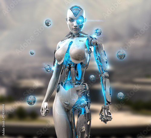 3d render of a female android cyborg character Canvas Print
