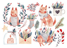 Big Watercolor Set With Christmas Elements, Dogs, Fox And Plants. Hand Drawn Watercolor Illustration.