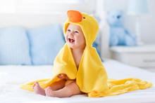 Cute Baby After Bath In Yellow...