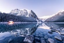 Winter Reflection At Lake Louise