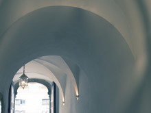 Arches In Blue Tones. Vaulted Ceiling