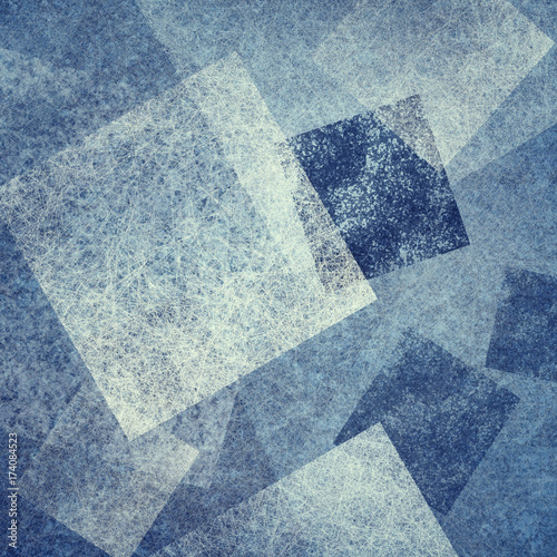 abstract blue background with diamond and square shapes layered in contemporary modern art design