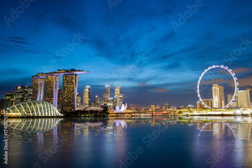 Acrylic Prints Singapore Singapore Skyline at Marina Bay During Sunset Blue Hour