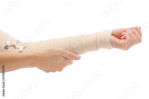 Female Hand Elastic Bandage Injury Buy This Stock Photo And