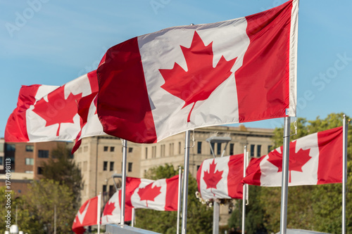 Foto op Aluminium Canada Canada and British Columbia flags waving over blue sky in Vancouver, BC, Canada