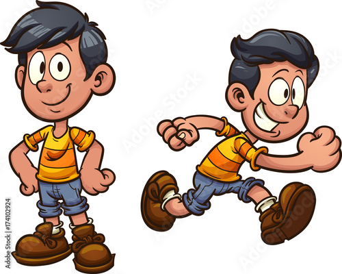 cute cartoon boy standing and running vector clip art illustration rh stock adobe com  show and tell clipart black and white
