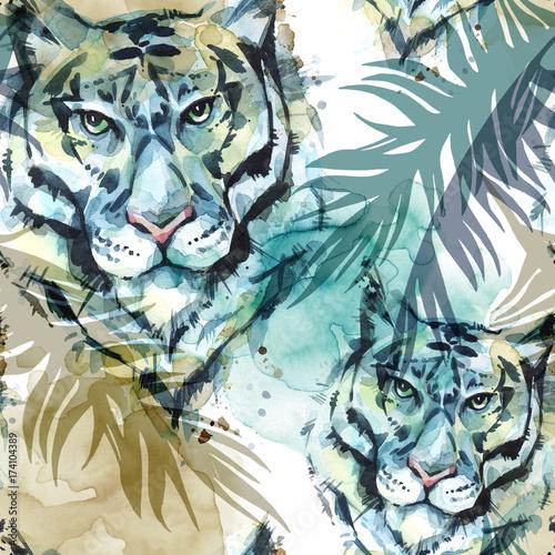 akwarela-egzotyczny-wzor-tygrysy-z-kolorowych-lisci-tropikalnych-tlo-afrykanskich-zwierzat-ilustracja-sztuki-wildlife
