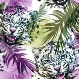 Akwarela egzotyczny wzór. Lamparty z kolorowymi liśćmi tropikalnymi. Tło afrykańskie zwierzęta. Ilustracja sztuki dzikiej przyrody. Może być drukowany na koszulkach, torbach, plakatach, zaproszeniach, kartach. - 174104520